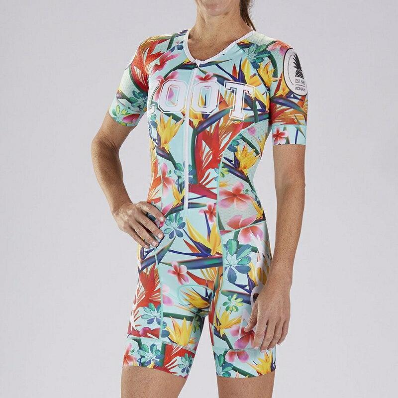 【7號公園自行車】ZOOT 19S EST.83 TRI AERO 女性前開襟有袖三鐵上衣(淡藍/花朵)