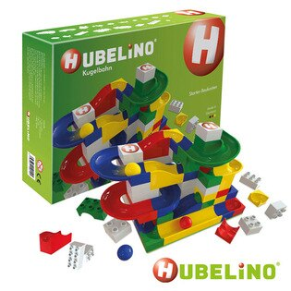 【德國HUBELiNO軌道式積木】軌道套件+基本積木組85pcs420145