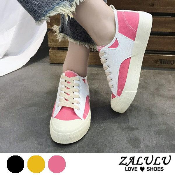 ZALULU愛鞋館7EE116預購學院綁帶雙色。清新休閒布鞋-偏小-黃粉黑-36-40