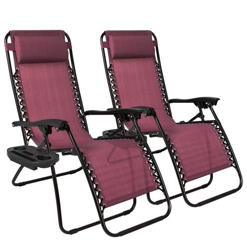 Best Choice Products Set of 2 Zero Gravity Chairs w/ Cup Holders - Burgundy b100cbac8ada339bd9bbb62d5140e98b