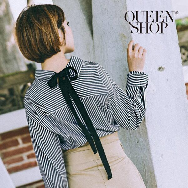 QueenShop【01023019】後領綁帶造型直條紋襯衫*預購*