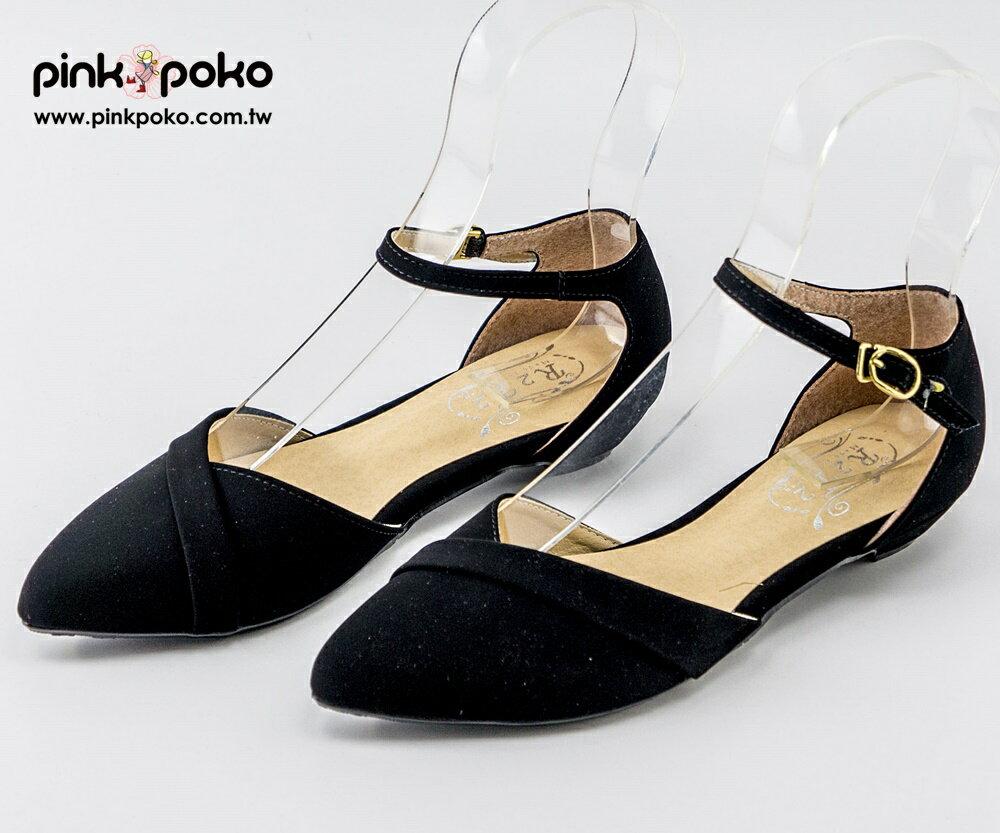 涼鞋~PINKPOKO粉紅波可~簡約 金屬扣繞踝尖頭涼鞋^~2色^#1277