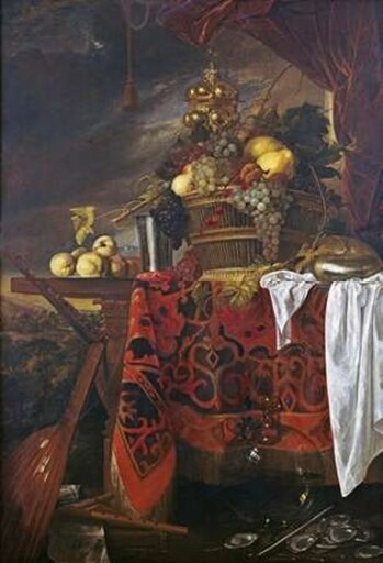 A Basket of Mixed Fruit With Gilt Cup Rolled Canvas Art - Jan Davidsz De Heem (10 x 14) b56248065f7b7a93b893326c06755fdd