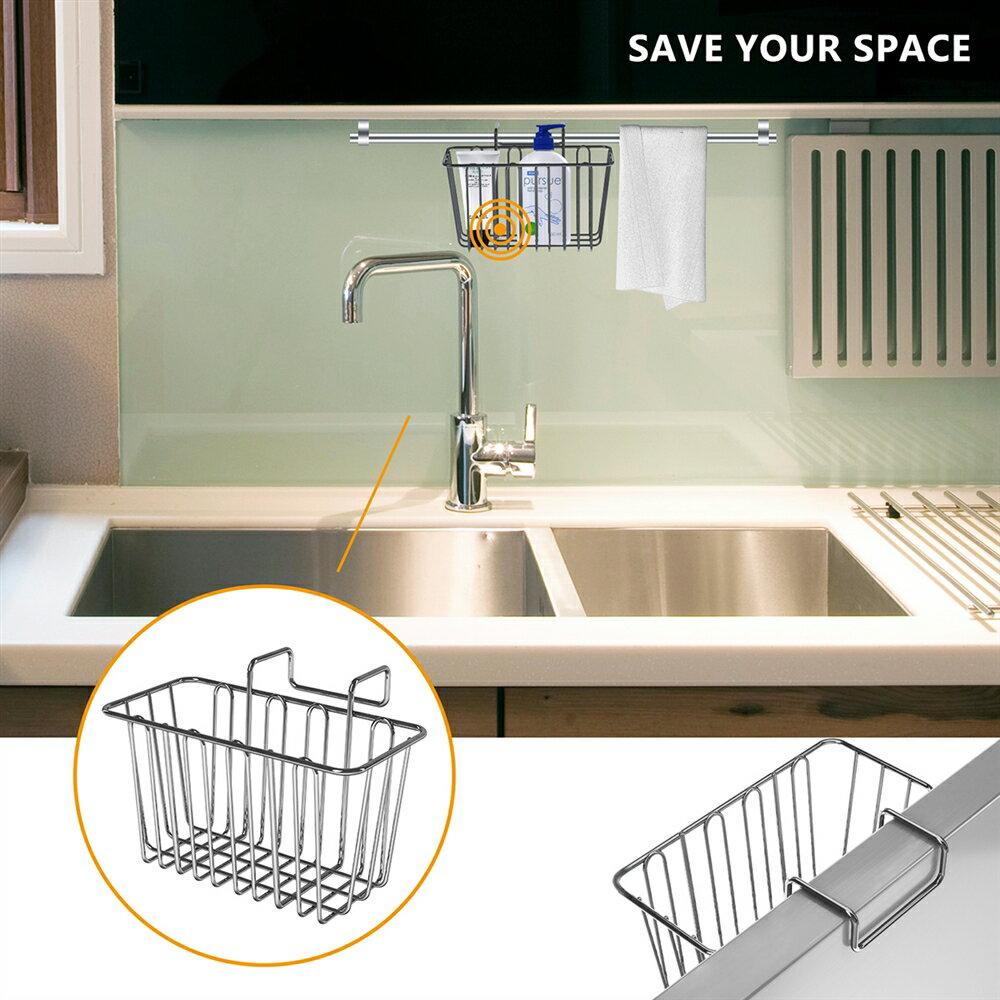 Kitchen Sponge Holder Sink Caddy Brush Liquid Drainer Rack Stainless Steel  Cleaning brush Soap Dishwashing Fruit & Vegetable Towel Rag Water Filter