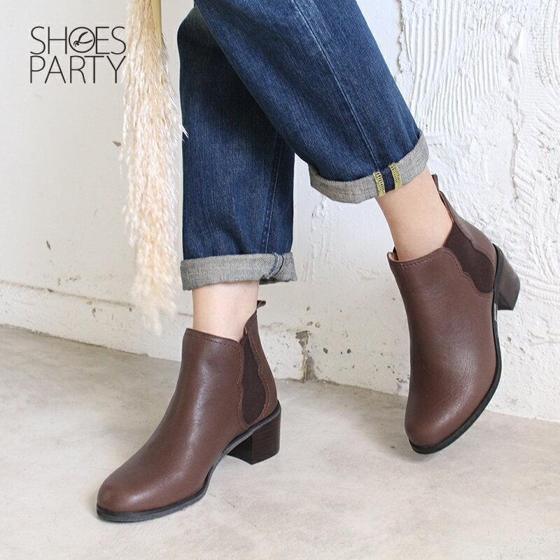 【B2-18722L】葫蘆形鬆緊帶粗跟短靴_Shoes Party 3