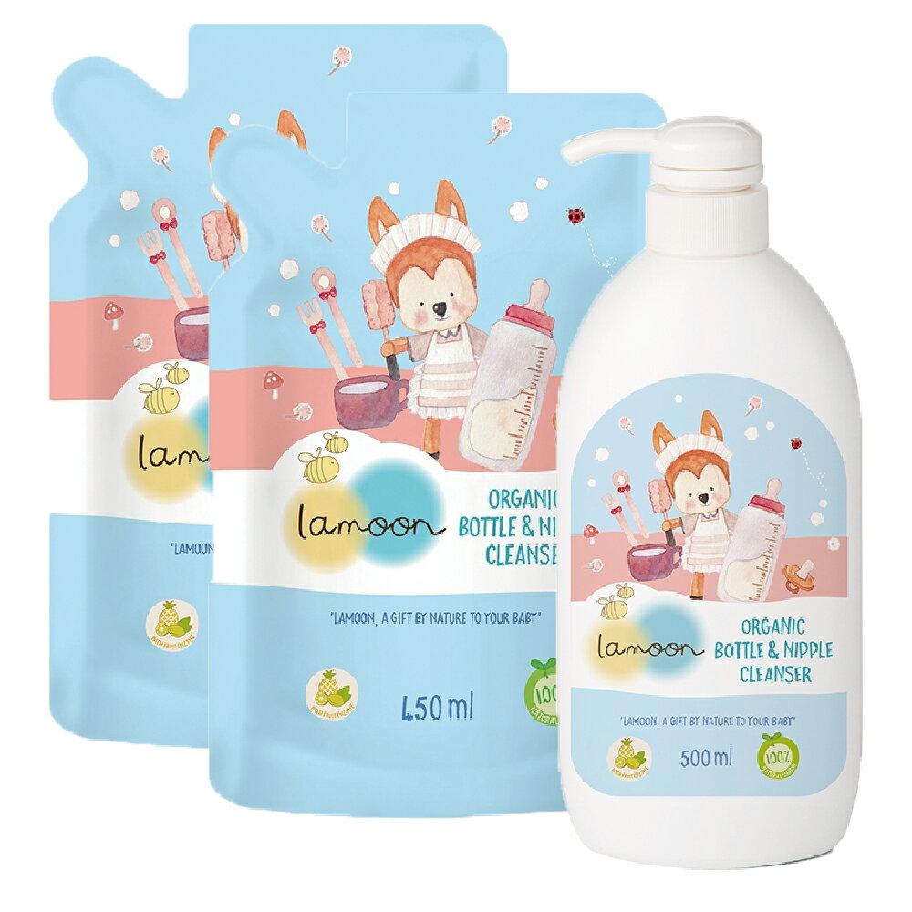 【Lamoon baby】有機奶蔬清潔液 (1罐+2包)
