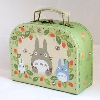 【真愛日本】16041600029縫線手提盒-灰龍貓綠葉 龍貓 TOTORO 豆豆龍  收納箱 萬用箱 正品 限量 預購