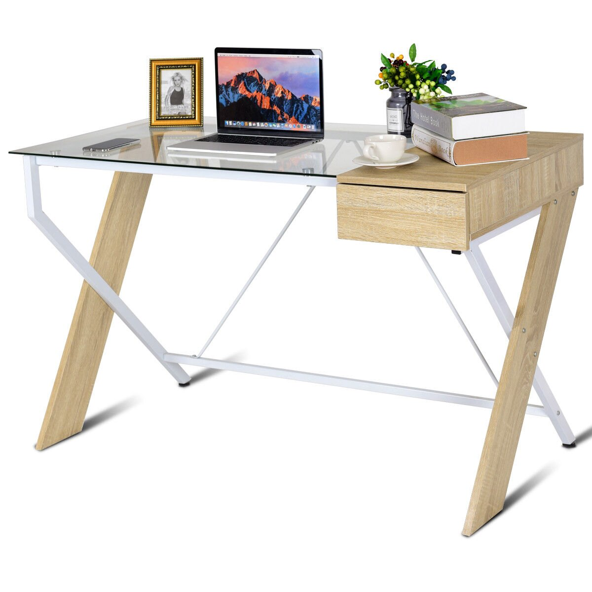 Costway Clear Glass Top Computer Desk Wood Metal Frame With Drawer Home Office Furniture 0