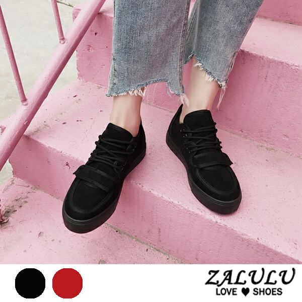 ZALULU愛鞋館7DE039預購潮流街頭風綁帶厚底休閒鞋-黑紅-偏小-36-40