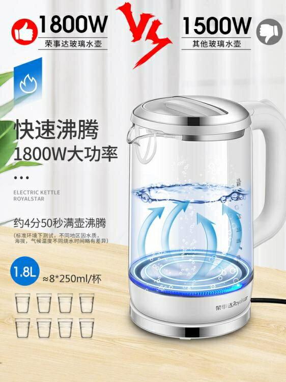 電熱水壺電熱燒水壺家用全自動斷電煮水器泡茶透明玻璃快燒電壺小型春季新品