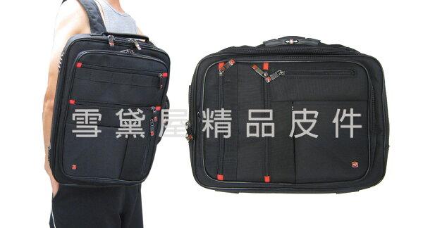 ~雪黛屋~OVER-LAND公事包中容量二層主袋可A4資料夾電腦手提肩背斜側背後背防水尼龍布三用多袋多夾層T5082
