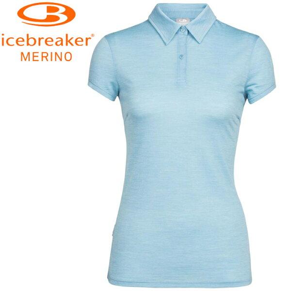 Icebreaker排汗衣短袖Polo衫美麗諾羊毛TechLite女短袖上衣JN130IB104198401粉水藍