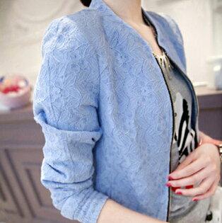《現貨出清5折》  韓系立領蕾絲亮色外套-S-2XL - 梅西蒂絲(現貨+預購)