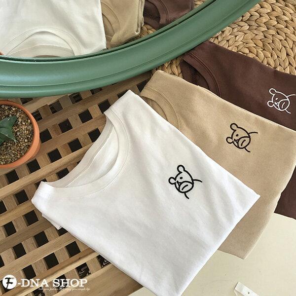 F-DNA★萌萌小熊刺繡圓領短袖上衣T恤(3色-均碼)【ET12703】 7