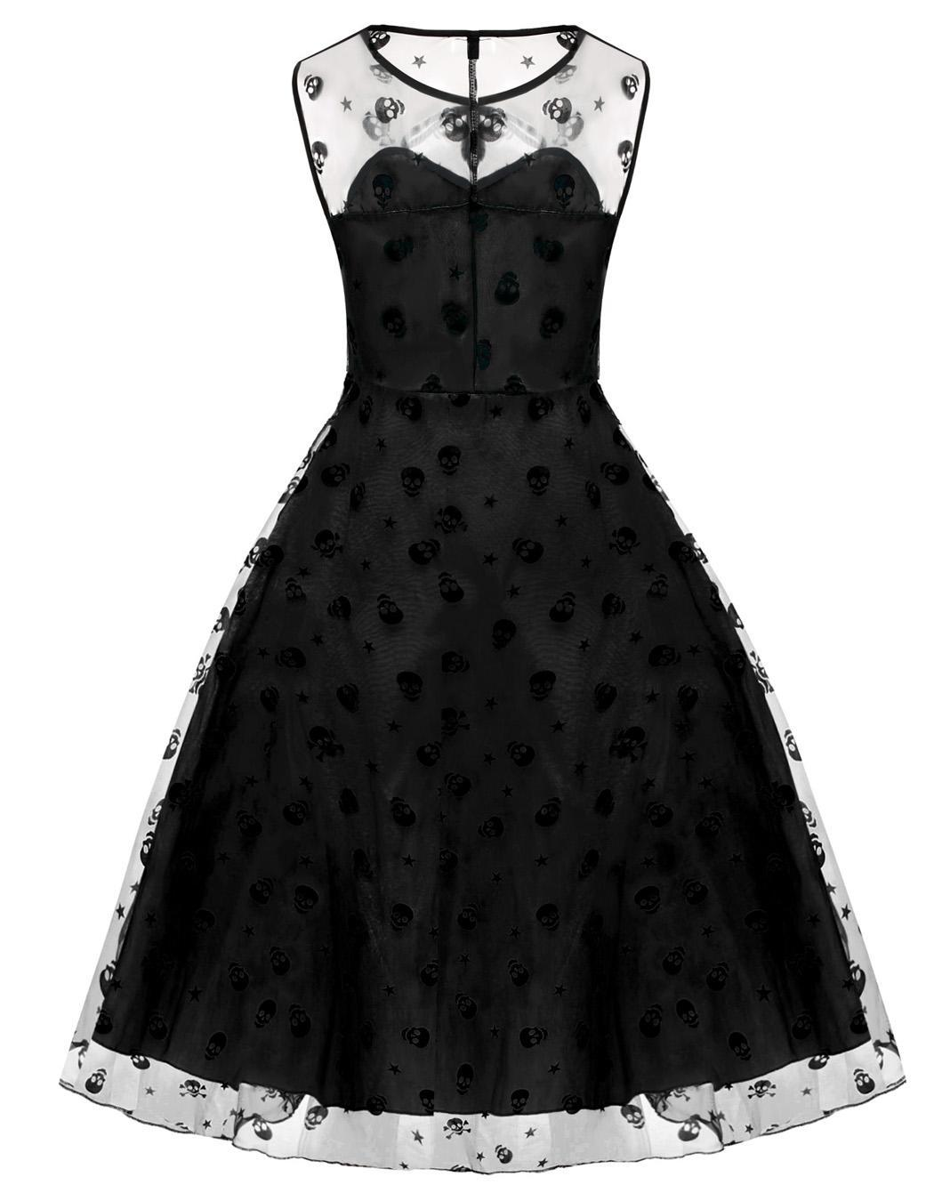 Retro Women Vintage Style Sleeveless Mesh Embroidery Long Party Cocktail Dress 4