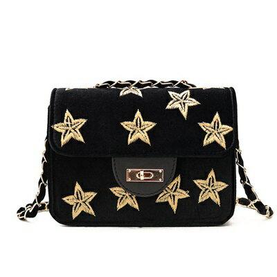 肩背包絲絨手拿包-刺繡星星鍊條鎖扣女包包73fc433【獨家進口】【米蘭精品】