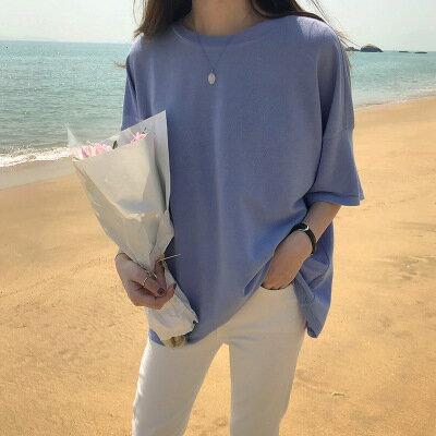 圓領短袖上衣純色T恤樂天時尚館。預購。[全店免運]