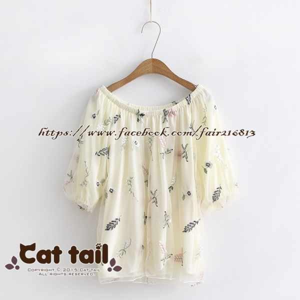 《貓尾巴》TS-0715日系一領字葉子印花短袖上衣(森林系日系棉麻文青清新)