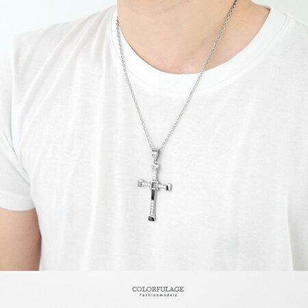 項鍊 質感經典立體大十字架水鑽白鋼項鍊 簡單百搭風格 抗過敏.氧化 柒彩年代【NB665】基本款式