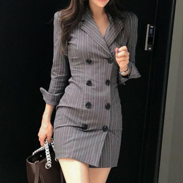 女裝2021秋冬新款韓版名媛時尚氣質優雅顯瘦條紋西裝連衣裙