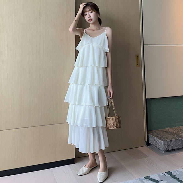 蛋糕裙 白色蛋糕長裙女法式輕熟雪紡吊帶連身裙顯瘦-莎韓依