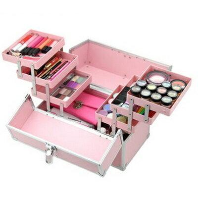 化妝箱 隨身收納盒 -鋁合金粉嫩色彩多隔層美甲美妝專業工具箱73d32【獨家進口】【米蘭精品】