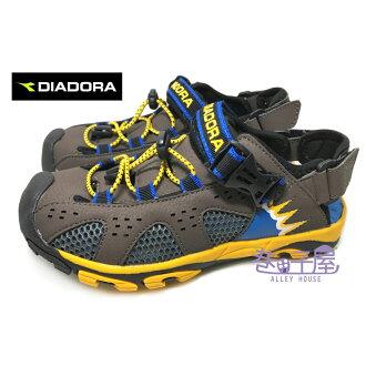 【巷子屋】義大利國寶鞋-DIADORA迪亞多納 男童護趾兩穿式戶外運動涼鞋/拖鞋 [3191] 咖啡 超值價$398