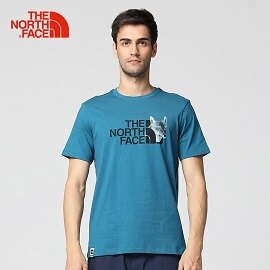 [THENORTHFACE]男狐狸Logo棉質透氣短T藍公司貨NF0A3CJJEFS