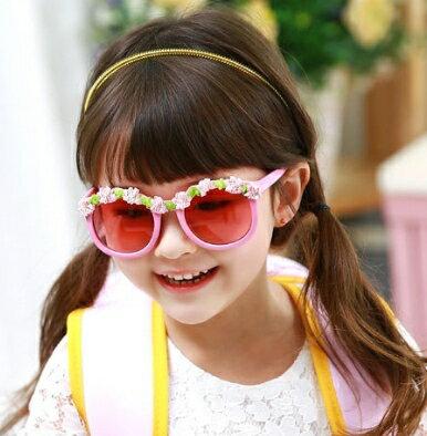 Kocotree◆夏日海洋風可愛花朵鏡框兒童防紫外線護目太陽眼鏡~粉色 ~  好康折扣