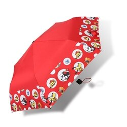 (全家取貨免運)迪士尼系列-手繪米奇 / 三折傘 / 黑膠傘 / 防風 / 玻璃纖維 / 抗UV / 紅色 X RUNWAY FASHION ICON