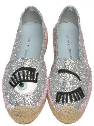 CHIARA FERRAGNI CF895 銀灰色亮片眨眼睛厚底鞋零碼特惠