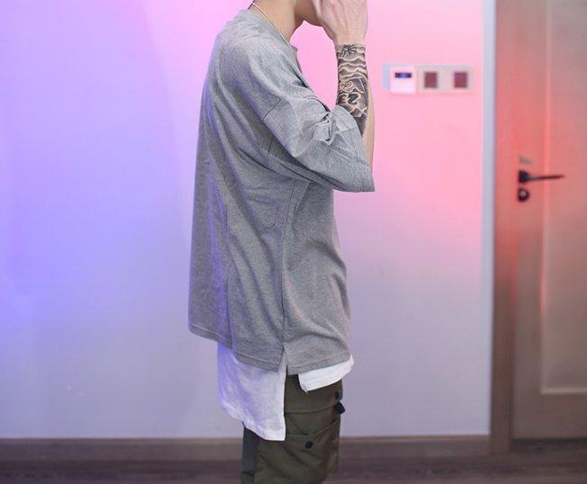 FINDSENSE Z1 韓國 男 時尚 街頭 素面 寬鬆圓領 短袖T恤 特色短T 素面T