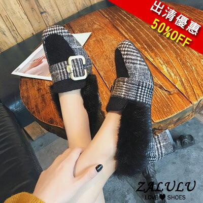 ZALULU愛鞋館 KE282 現貨 皮帶扣飾毛邊粗跟鞋-黑/棕/灰/卡其-偏小-36-39