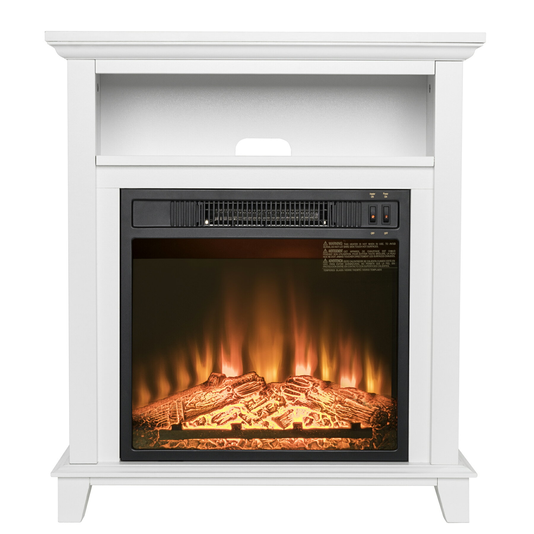 AKDY White Wooden Mantel Shelf Freestanding Electric Fireplace Stove Heater 0