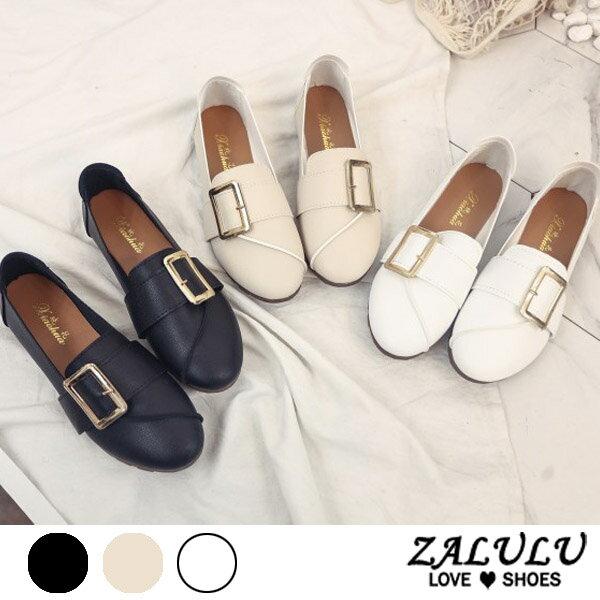 ZALULU愛鞋館7CE173預購清新淑女。皮帶扣平底圓頭娃娃鞋-偏小-黑米白-36-39