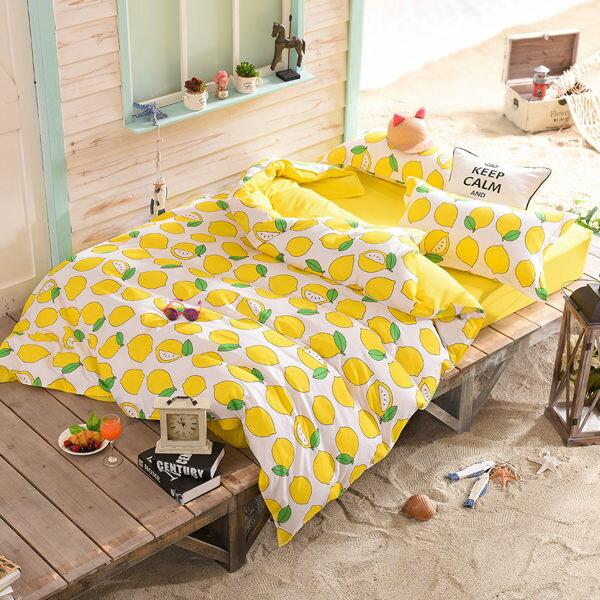 柔絲絨 被套床包組 雙人四件式-水果特調系列-蜂蜜檸檬/ 哇哇購