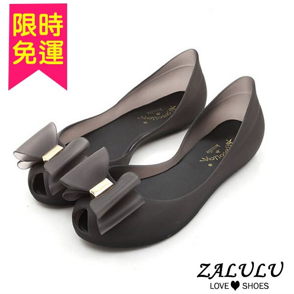 大蝴蝶結魚嘴雨鞋(3色)