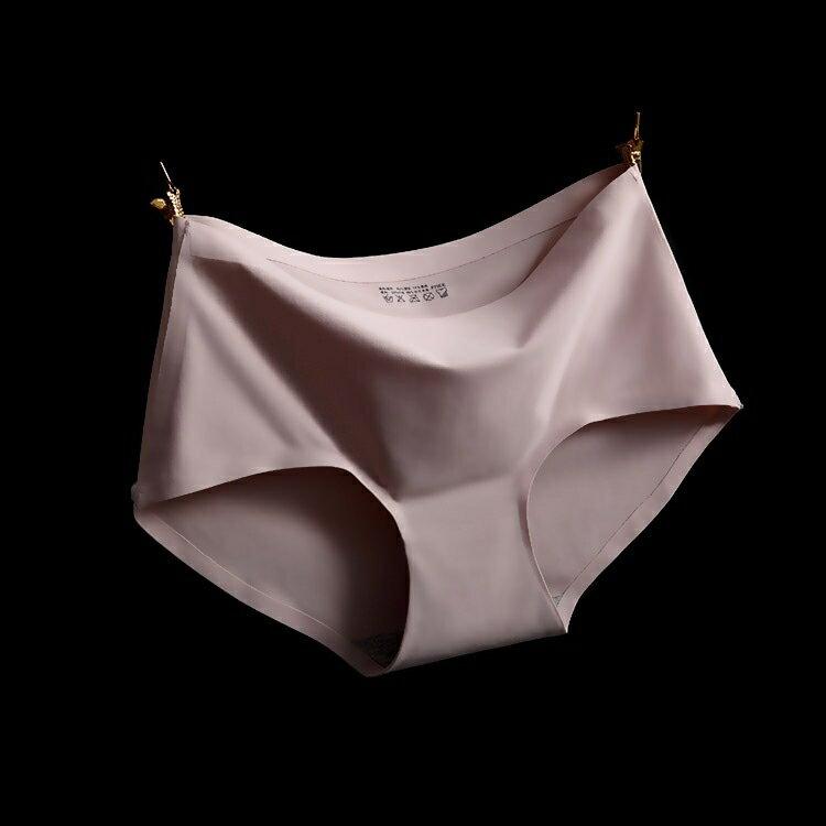 淺咖 XL冰絲無痕中腰純色性感女仕內褲 中大尺碼 # 一片式