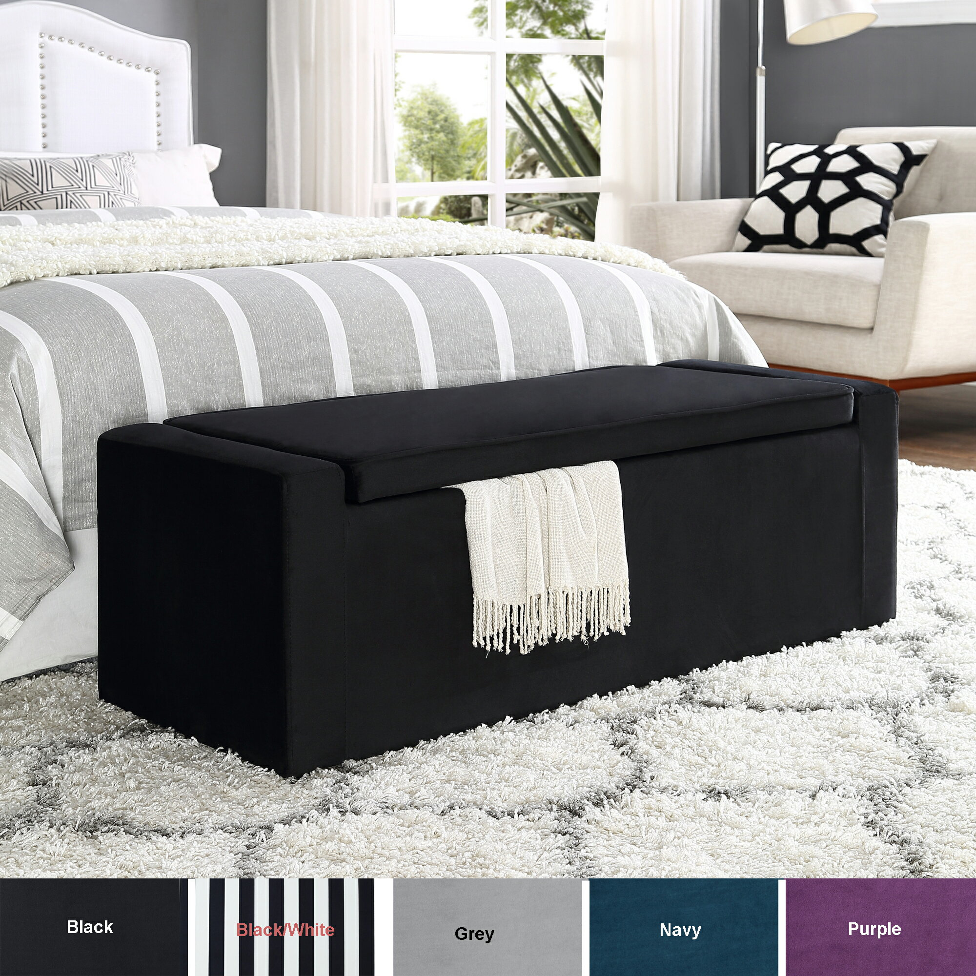 HomeSpot: Casper Velvet Storage Bench - Shoe Storage | Upholstered | Living  Room, Entryway, Bedroom | Inspired Home | Rakuten.com