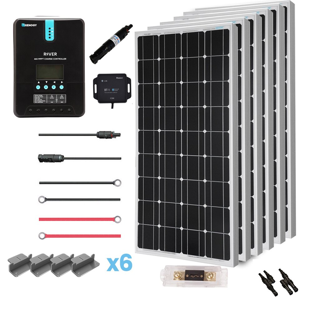 Renogy 600 Watt 12 Volt Off Grid Solar Premium Kit with Monocrystalline Solar Panel and 40A MPPT Rover Controller 0