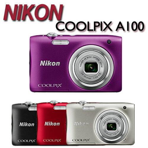 MY DC數位相機館:單機NIKONCOOLPIXA100(公司貨)數位相機2100萬畫素拍影片、短片好幫手學生愛用黑色現貨