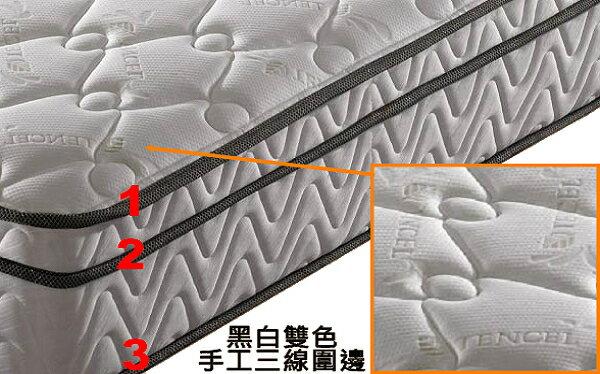 【床工坊】【桃園床墊推薦】乳膠 床墊 「施華洛」頂級天絲乳膠三線硬式獨立筒床墊 雙人5尺 (~限時優惠免運中~) 1
