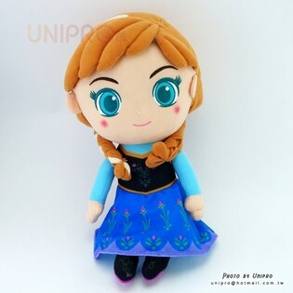【UNIPRO】冰雪奇緣FROZEN晶漾大眼安娜ANNA公主Q版34公分絨毛娃娃玩偶禮物迪士尼正版