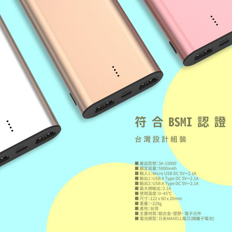 POLYBATT 雙USB行動電源 5V 2.1A 額定容量5900mAh 3A-15000 3
