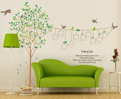 溫馨田園綠樹相框照片大型牆貼客廳沙發電視可移除 貼紙 ~no~42576866681~
