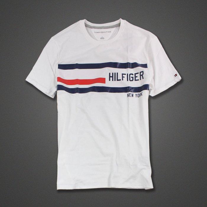 美國百分百【Tommy Hilfiger】T恤 TH 男 圓領 T-shirt 短袖 短T logo 白色 M號 H846