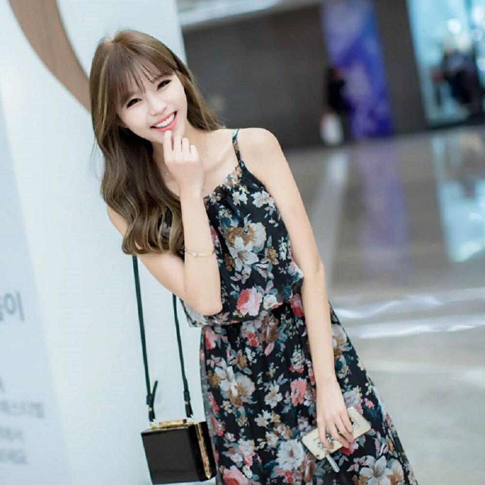 【她時代Sstyle】細肩帶花卉雪紡長洋裝(白色/黑色)
