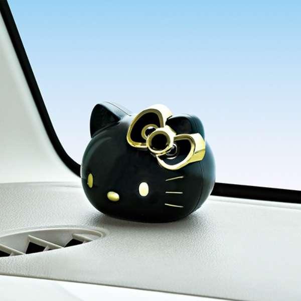 【真愛日本】18072100032車用頭型芳香劑-黑金優雅花香凱蒂貓kitty三麗鷗車用百貨芳香劑裝飾品