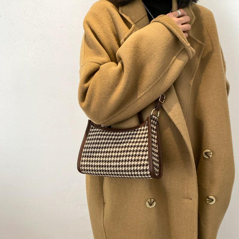包包女2020冬季韓版新款時尚復古小方包質感格紋ins單肩腋下包