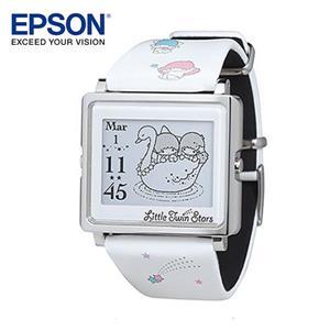 EPSON Kikilala Rainbow 雙星仙子銀色手錶 百變! 4種動態圖案顯示 細緻! 日本精工設計輕巧薄型外觀 時尚! 搭配穿著任意變換錶帶 耐用! 獨家省電技術3年持久電力